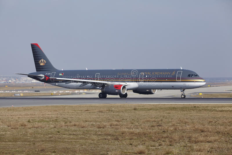 Frankfurt International Airport – Royal Jordanian Airbus A321 takes off stock image