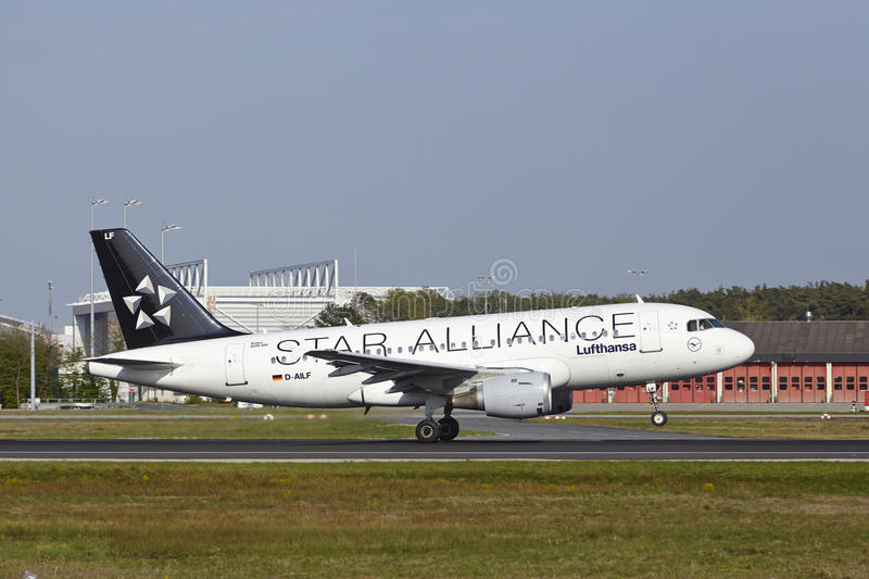 Frankfurt International Airport - Airbus A319-114 of Lufthansa takes off. An Airbus A319-114 of Lufthansa (Star Alliance Livery) takes off at Frankfurt royalty free stock photo