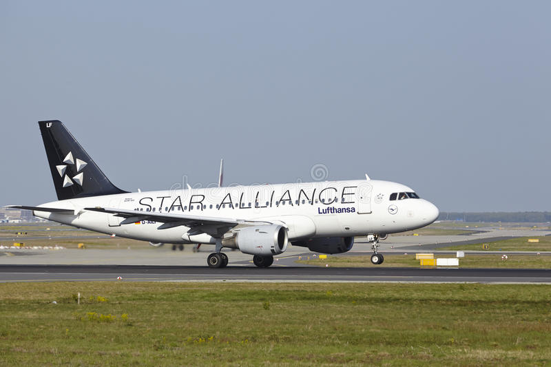 Frankfurt International Airport - Airbus A319-114 of Lufthansa takes off. An Airbus A319-114 of Lufthansa (Star Alliance Livery) takes off at Frankfurt stock image