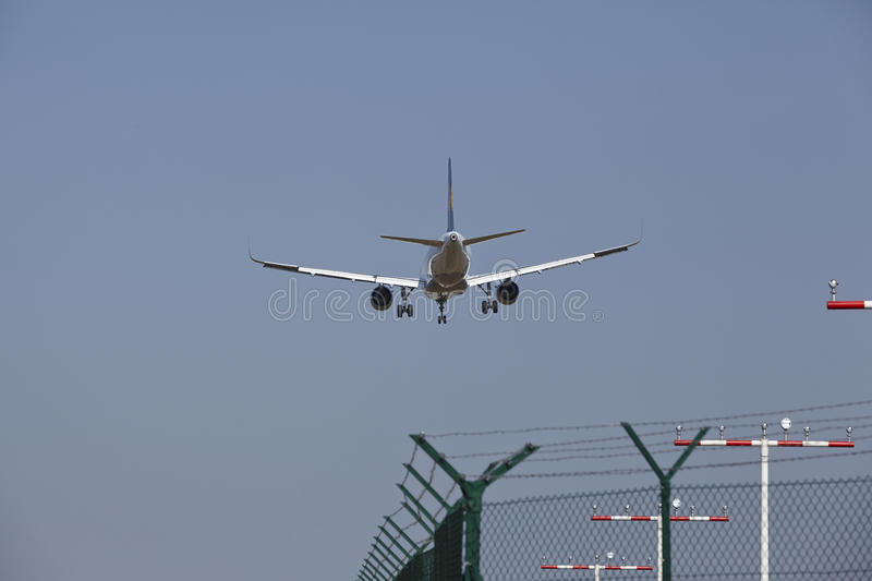 Frankfurt International Airport (Germany) - Landing approach. Landing appeoach of an airplane at the Frankfurt International Airport (Germany, FRA) on April 23 stock images