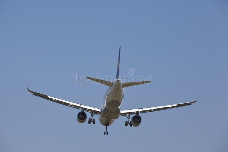 Frankfurt International Airport (Germany) - Landing approach royalty free stock photo