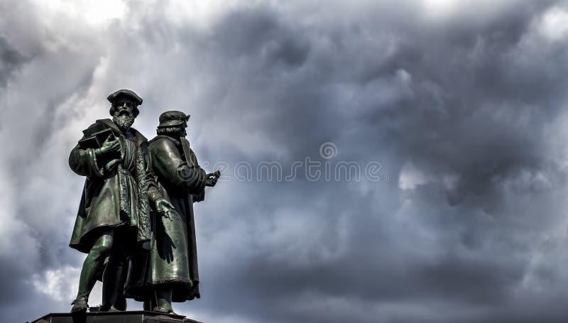 Frankfurt Johannes Gutenberg statua zdjęcia stock