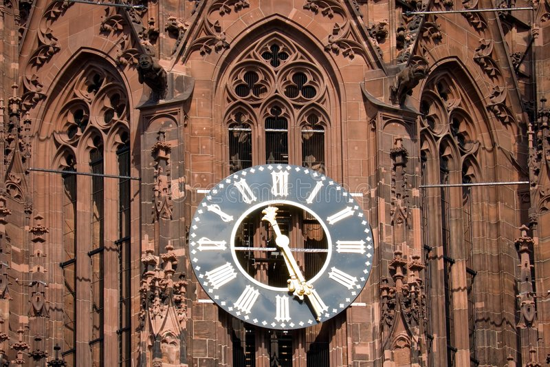Frankfurt katedra zegara obrazy royalty free