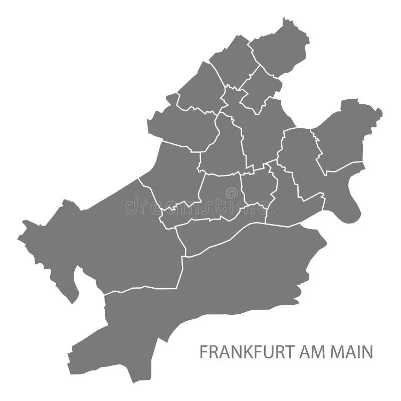Frankfurt am Main city map with boroughs grey illustration silhouette shape stock illustration