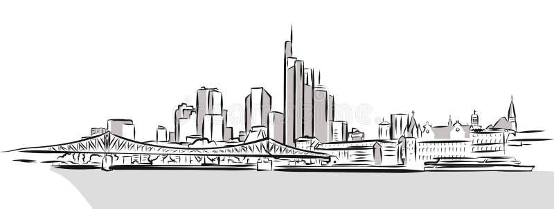 Frankfurt Main Downtown Outline Sketch. Hand Drawn Vector Illustration royalty free illustration