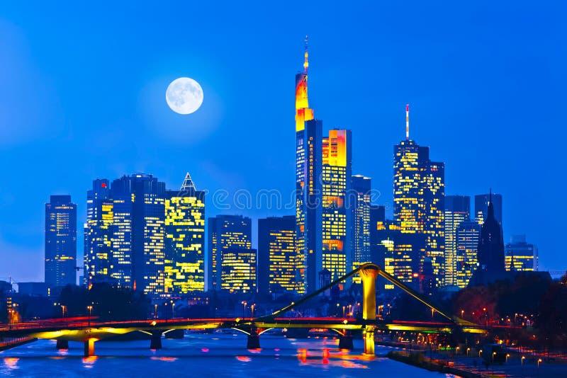 Frankfurt am Main, Germany. Skyline of Frankfurt am Main (Germany) at night royalty free stock images