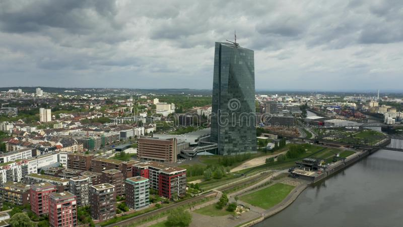 FRANKFURT AM MAIN, GERMANY - APRIL 29, 2019. Aerial view of the European Central Bank ECB headquarters royalty free stock image