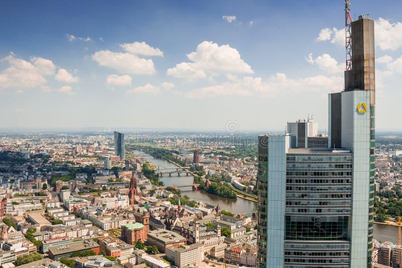 Frankfurt am Main Germany - cityscape Main Tower - river, Comerzbank- above royalty free stock photos