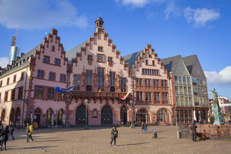 Old center of Frankfurt Am Main city, Romer. Germany royalty free stock photo
