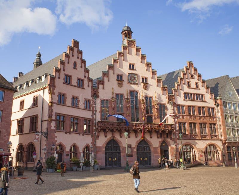 old center of Frankfurt Am Main city, Romer. Germany stock image