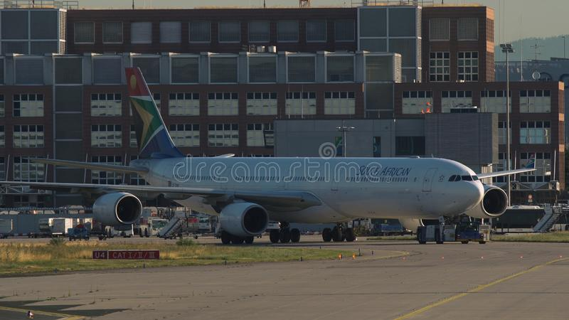 Airbus A340 of South African Airlines is towing stock photo