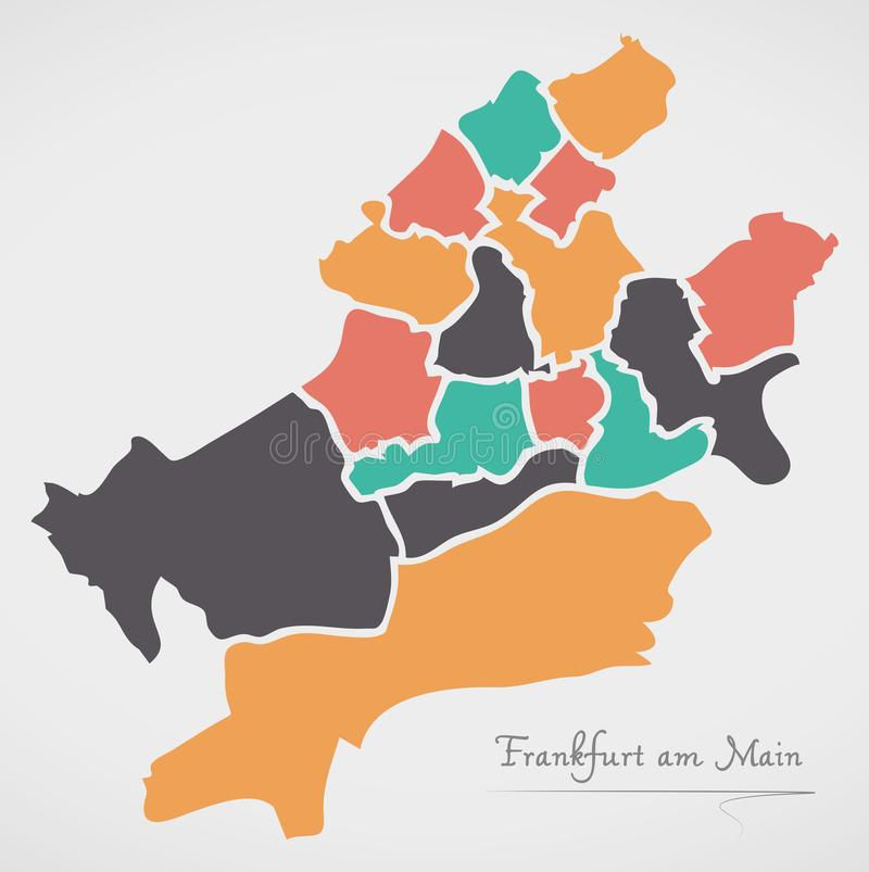 Frankfurt am Main Map with boroughs and modern round shapes. Frankfurt am Main Map with boroughs and modern round stock illustration