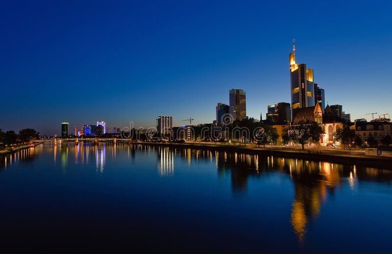 Frankfurt am Main at night. Germany stock image