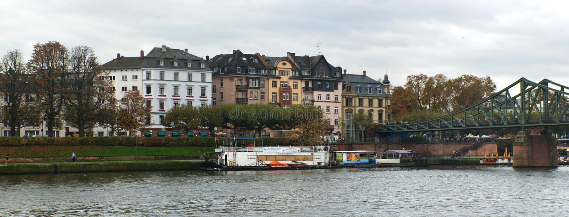 Frankfurt Main river houses stock images