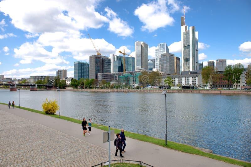 Frankfurt am Maine cityscape. Frankfurt, Germany - April 2015: Frankfurt am Maine, Germany panoramic cityscape on a sunny day stock images