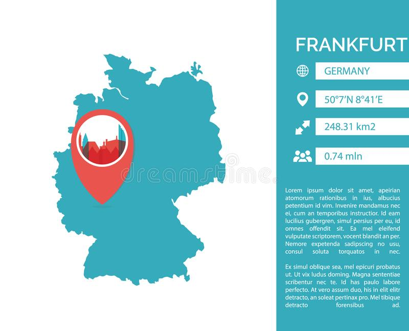 Frankfurt map infographic vector isolated illustration. Frankfurt map shape vector infographics template. Modern city data statistic isolated illustration royalty free illustration