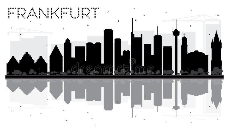 Frankfurt miasta linii horyzontu czarny i biały sylwetka z reflectio royalty ilustracja