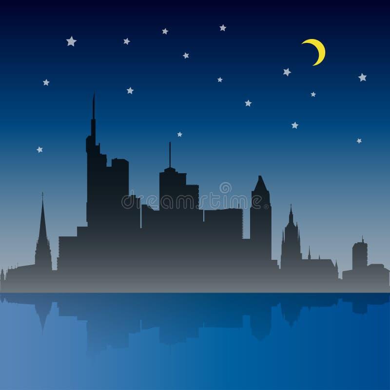 Frankfurt miasta nocy scena royalty ilustracja