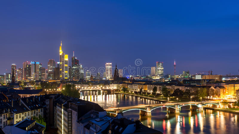 Frankfurt am Mine Skyscraper skyline building at dusk. In Frankfurt, Germany.Frankfurt am Main is the largest city in the Germany state of Hesse stock photos