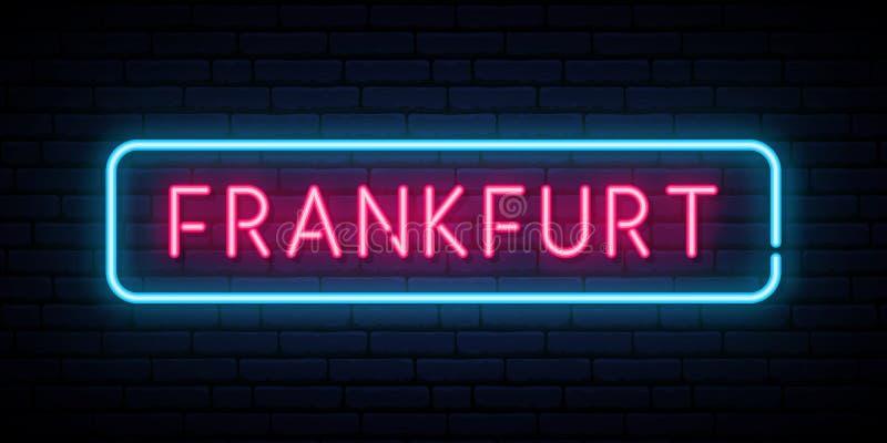Frankfurt neon sign. Bright light signboard. Vector banner royalty free illustration