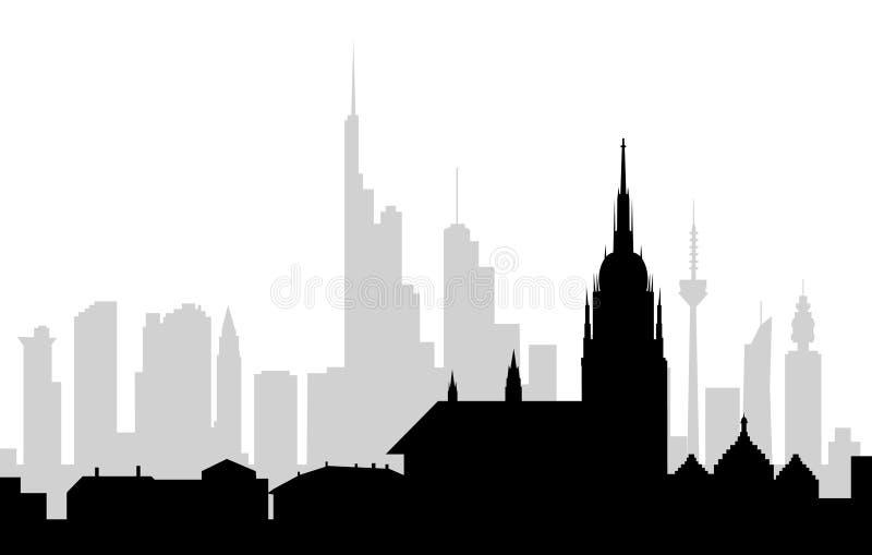 Frankfurt (niemiec) ranek linia horyzontu - wektor ilustracja wektor