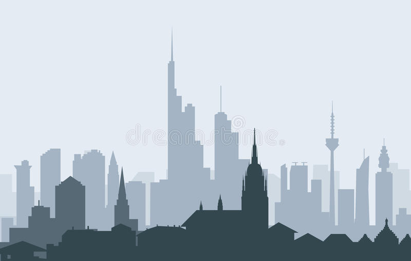 Frankfurt (niemiec) ranek linia horyzontu - wektor royalty ilustracja