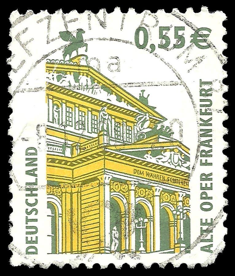 Frankfurt Old Opera. Germany - stamp 2002: Color edition on Architecture, shows Frankfurt Old Opera