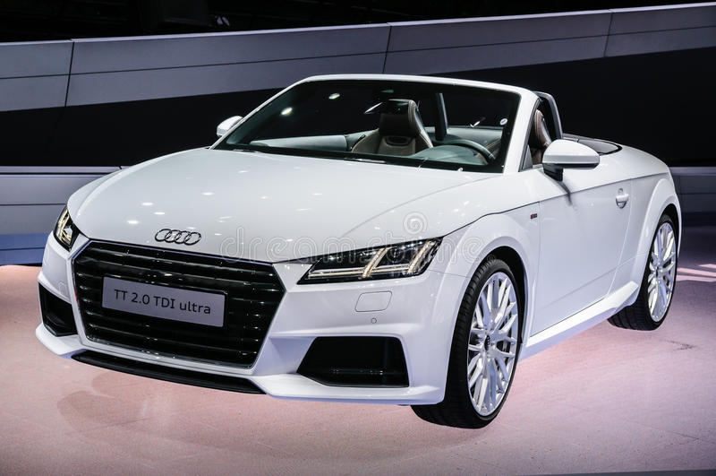 FRANKFURT - SEPT 2015: Audi TT 2.0 TDI Ultra cabrio presented at stock photos