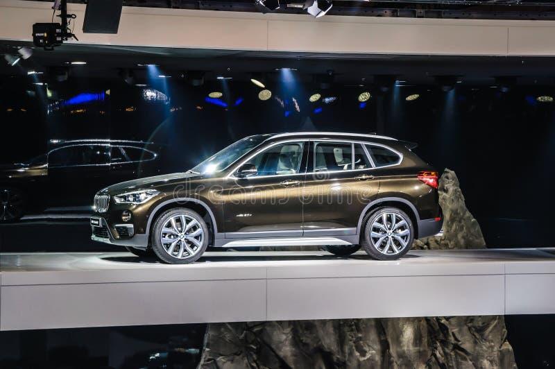 FRANKFURT - SEPT 2015: BMW X1 xDrive 20d presented at IAA. International Motor Show on September 20, 2015 in Frankfurt, Germany royalty free stock images