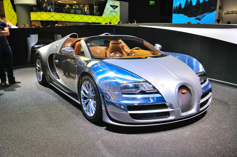 FRANKFURT - SEPT 14: Bugatti Veyron Grand Sport LOr Blanc presented as world premiere at the 65th IAA (Internationale Automobil A. Usstellung) on September 14 royalty free stock images