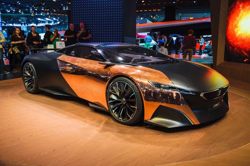 FRANKFURT - SEPT 21: (Conceptcar) hybrid- supercar för Peugeot onyx, fotografering för bildbyråer