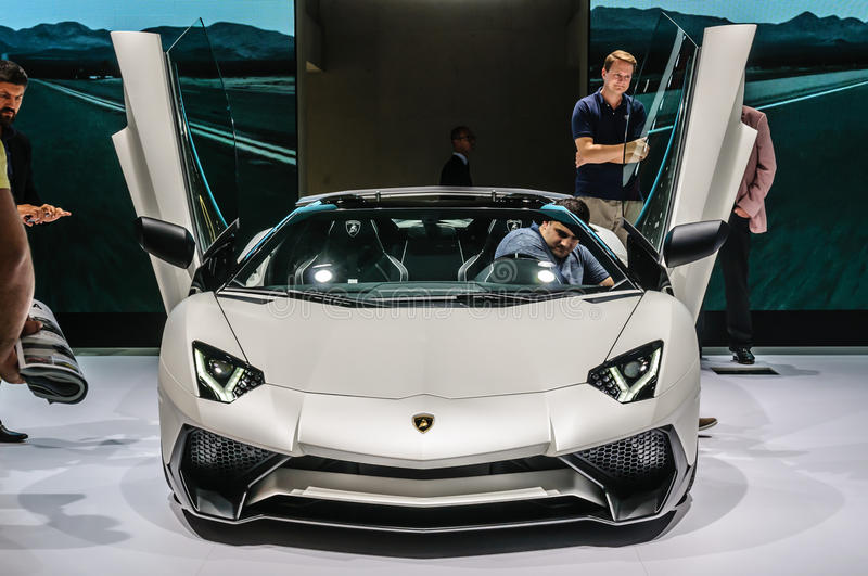 FRANKFURT - SEPT 2015: Lamborghini AVENTADOR LP 700-4 ROADSTER p. Resented at IAA International Motor Show on September 20, 2015 in Frankfurt, Germany stock photos