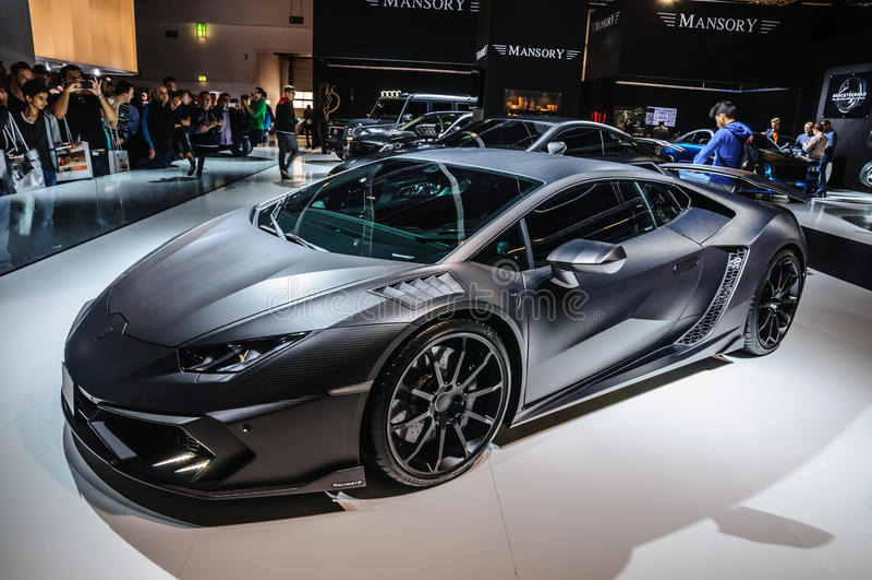 FRANKFURT - SEPT 2015: MANSORY TOROFEO Lamborghini prese Huracan arkivfoton