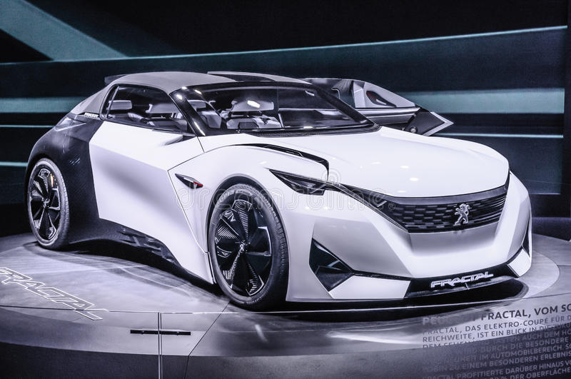 FRANKFURT - SEPT 2015: Peugeot Fractal Concept presented at IAA stock photography
