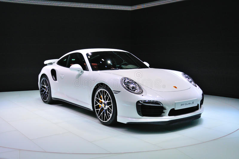 FRANKFURT - SEPT 14: Porsche 911 Turbo S presented as world premiere at the 65th IAA (Internationale Automobil Ausstellung) on Se. Ptember 14, 2013 in Frankfurt stock photo