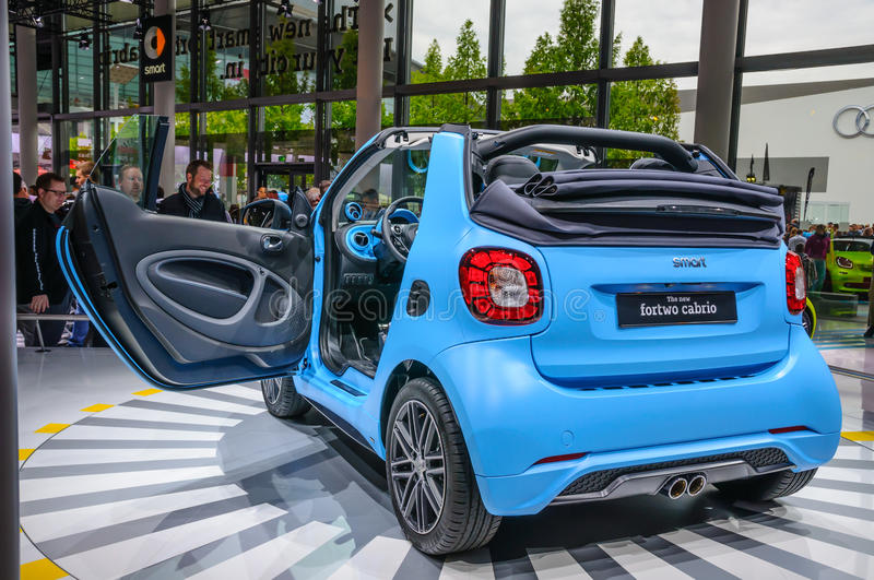 FRANKFURT - SEPT 2015: smart fortwo cabrio presented at IAA Inte. Rnational Motor Show on September 20, 2015 in Frankfurt, Germany royalty free stock image