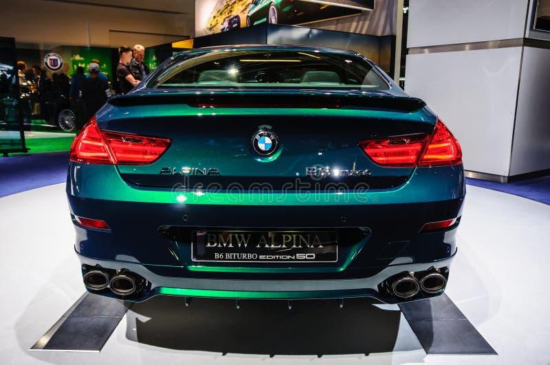 FRANKFURT - SEPT. 2015: Uitgave 50 van BMW Alpina B6 Biturbo presente stock afbeeldingen