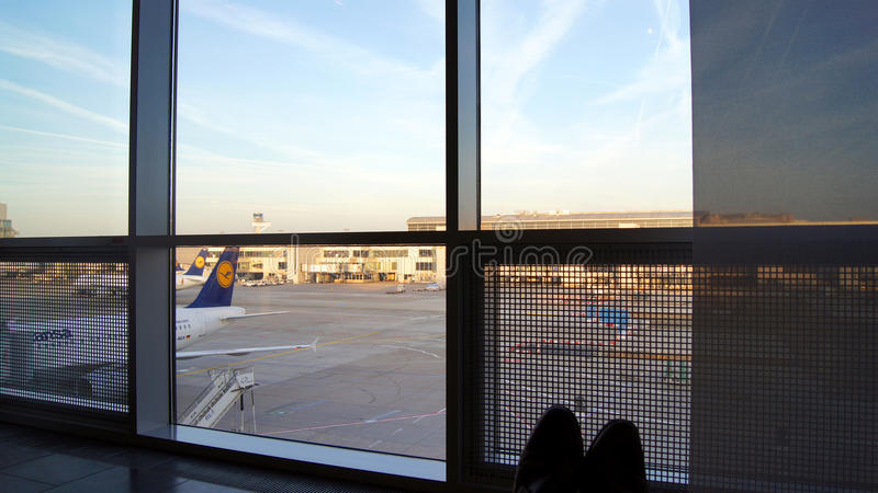 FRANKFURT - SEPTEMBER 2014: First Class Lounge. Passenger sitting in a comfy chair at the First Class Lounge in Frankfurt royalty free stock photography