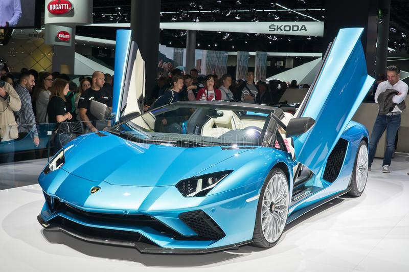 Lamborghini Aventador S Roadster. Frankfurt-September 20: Lamborghini Aventador S Roadster at the Frankfurt International Motor Show on September 20, 2017 in royalty free stock image