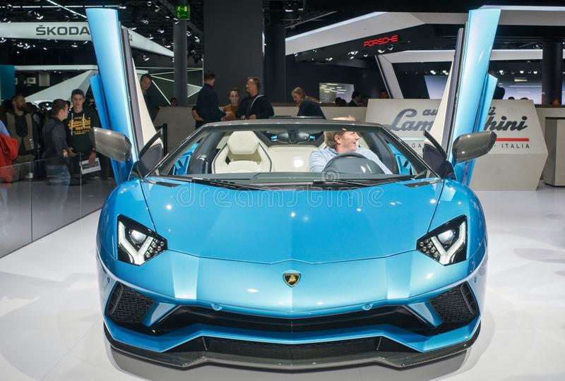 Lamborghini Aventador S Roadster. Frankfurt-September 20: Lamborghini Aventador S Roadster at the Frankfurt International Motor Show on September 20, 2017 in stock photo