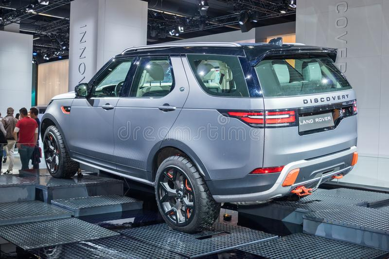 Land Rover Discovery. Frankfurt-September 20: Land Rover Discovery at the Frankfurt International Motor Show on September 20, 2017 in Frankfurt stock image