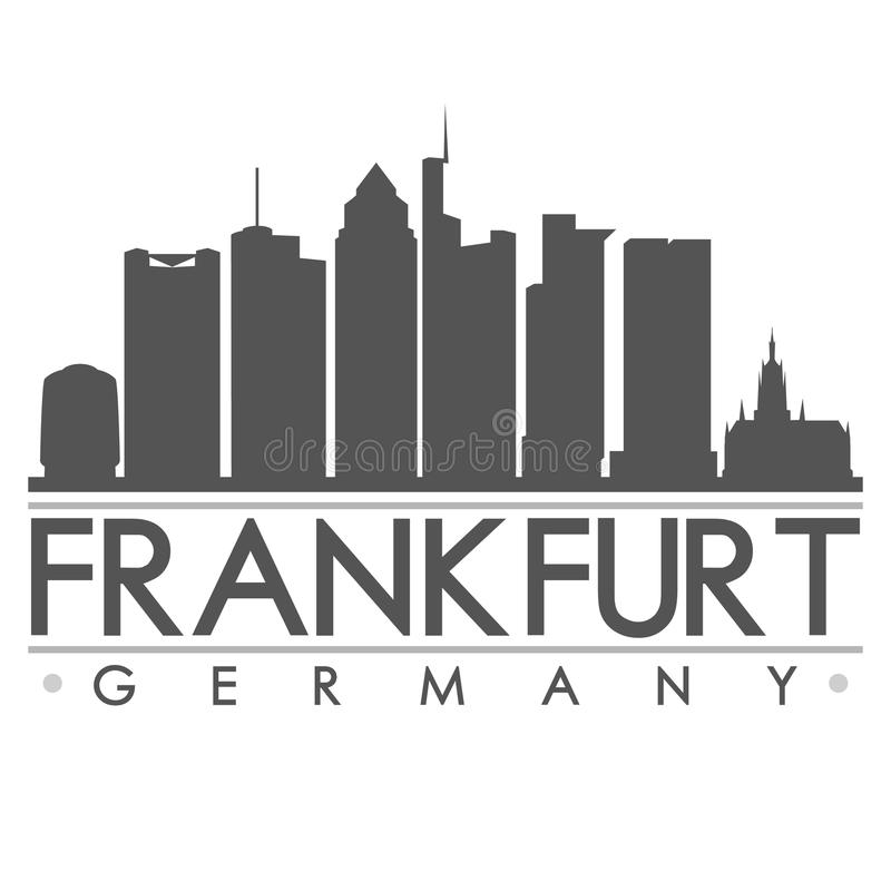 Frankfurt Silhouette Design City Vector Art. A icon of Frankfurt with the emblematic buildings stock illustration