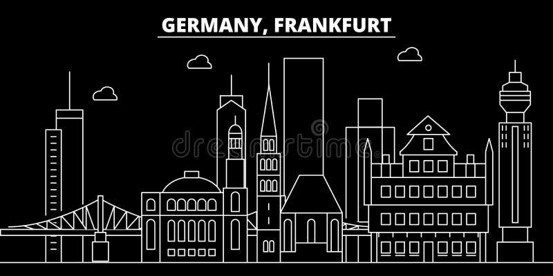 Frankfurt silhouette skyline. Germany - Frankfurt vector city, german linear architecture, buildings. Frankfurt travel. Frankfurt silhouette skyline. Germany stock illustration
