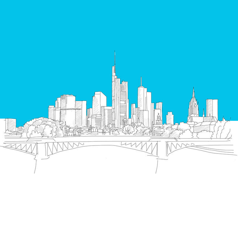Frankfurt skyline, Blue Series vector illustration