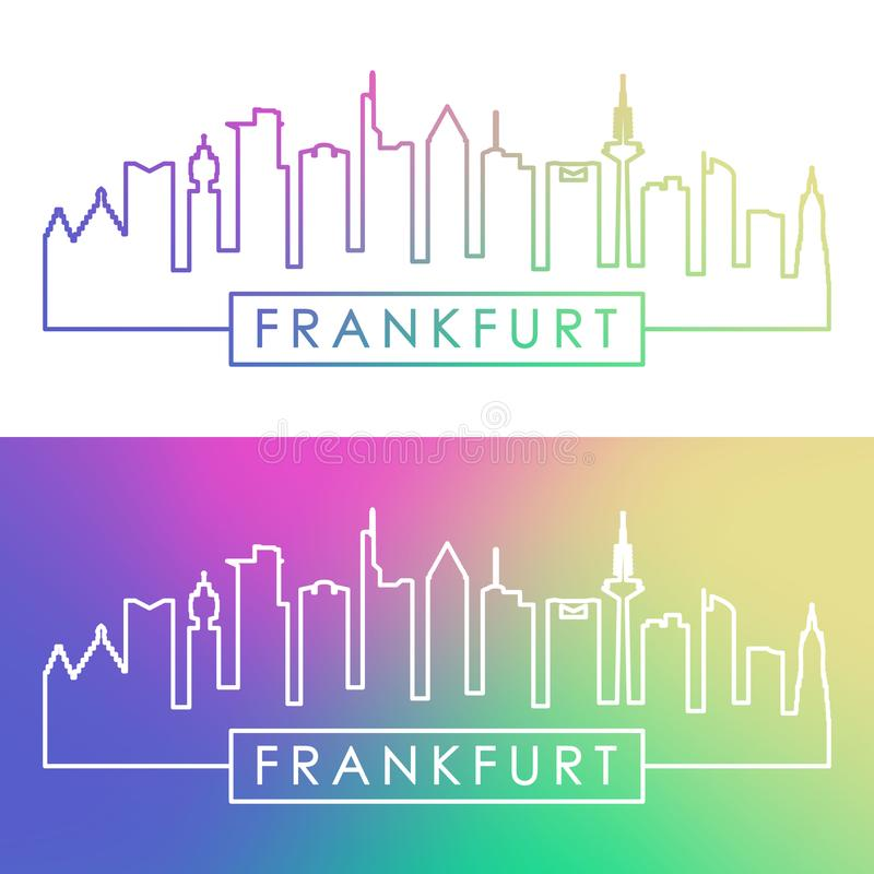 Frankfurt skyline. Colorful linear style. Editable vector file royalty free illustration
