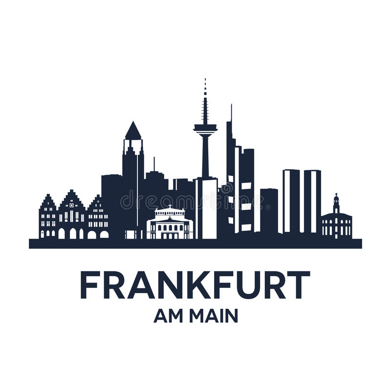 Frankfurt Skyline Emblem. Abstract skyline of city Frankfurt am Main, vector illustration stock illustration