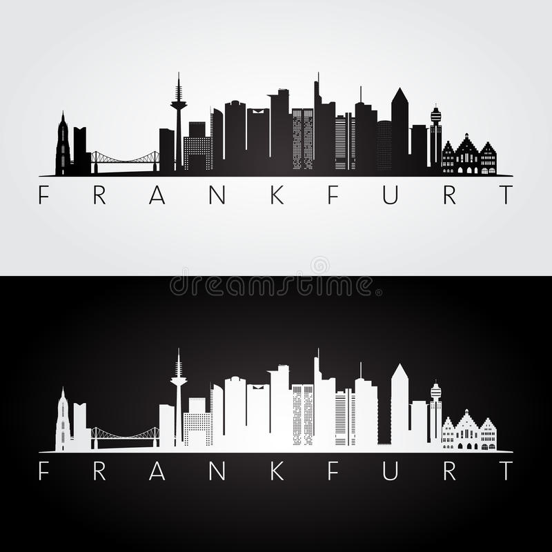 Frankfurt skyline and landmarks silhouette. Black and white design, vector illustration vector illustration