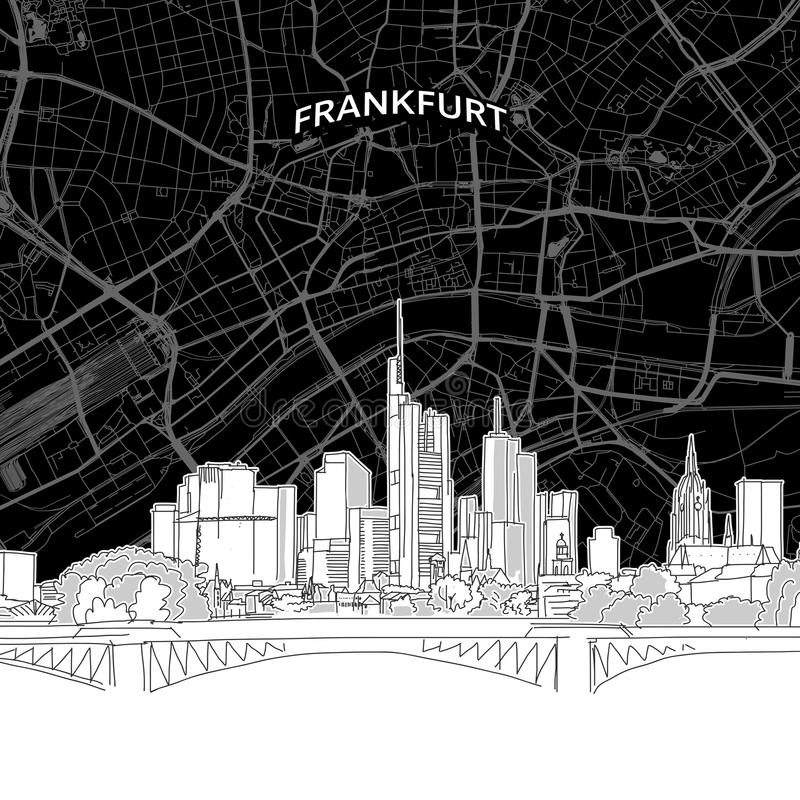 Frankfurt skyline with map vector illustration