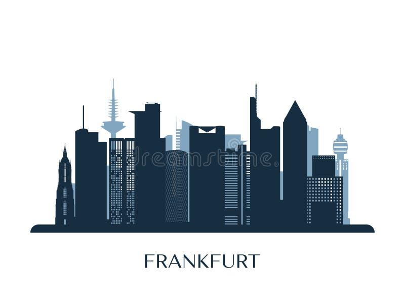 Frankfurt skyline, monochrome silhouette. Vector illustration stock illustration