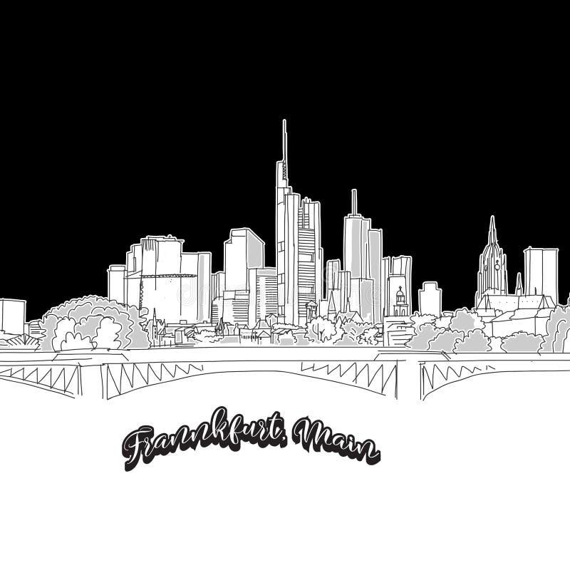 Frankfurt skyline, outline stock illustration